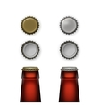 Beer Glass Bottle Necks with Caps Top Back View vector image vector image