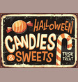 candies and sweets halloween holidays retro sign vector image vector image
