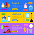 cartoon household cleaning banner horizontal set vector image vector image
