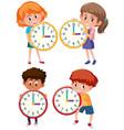 children holding clock on white background vector image