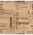 Coffee words tags Seamless pattern vector image vector image