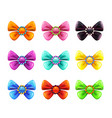 colorful glossy decorative bows set vector image vector image