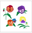 Creative hand-drawn pansies vector image
