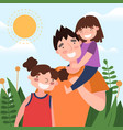 dad and daughters concept vector image