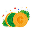 electronic money coin with chip inside vector image