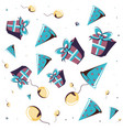 gift box with balloon helium and hat party pattern vector image vector image