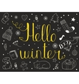 Hello winter Hand drawn invitation or greeting vector image vector image