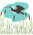 heron flying flat style vector image