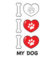 i love paw print logo design 04 collection vector image