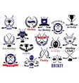 Ice hockey sport game heraldic emblems vector image vector image