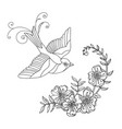 line art bird and flower composition vector image vector image