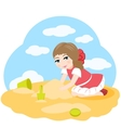 Little girl playing in the sand vector image vector image