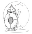log and a life buoy in water cartoon drawing vector image vector image