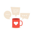 lovely conversations about love a red cup with a vector image vector image