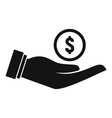 money coin in hand icon simple style vector image vector image