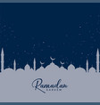 mosque on blue stars background ramadan kareem vector image vector image
