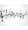 Music background with different notes on the white vector image vector image