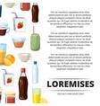 non-alcoholic cartoon drinks poster design vector image vector image
