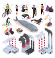 pollution isometric set vector image vector image