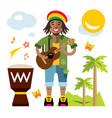 rastafarian reggae artist flat style vector image