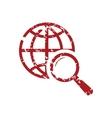 Red grunge world scan logo vector image
