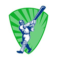 retro cricket shield vector image vector image