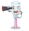 sailor with binocular whisk character cartoon vector image vector image