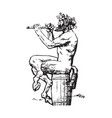satyr sitting on the barrel and playing the flute vector image