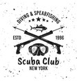 scuba diving club and spearfishing emblem vector image vector image