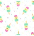 seamless pattern cute cartoon ice cream vector image