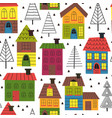 seamless pattern with houses and spruces vector image
