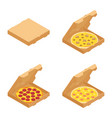 set italian pizzas in cardboard boxes vector image