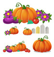 set of ripe vegetables isolated on white vector image vector image
