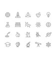 set science and research line icons vector image