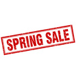 spring sale red square grunge stamp on white vector image vector image