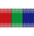 three knitted christmas backgrounds set three vector image vector image