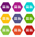 toy train icon set color hexahedron vector image