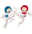 Two men doing taekwondo vector image
