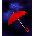 umbrella in a thunderstorm vector image vector image