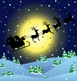 Winter background with Santa sledge vector image vector image