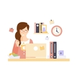 Woman Office Worker Eating Lunch In Office Cubicle vector image vector image