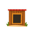 wooden doghouse on a white vector image vector image