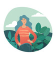 young pretty woman in nature surrounding vector image vector image