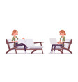 young red-haired woman sitting and resting vector image