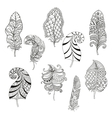 Zentangle stylized nine feathers for coloring page vector image vector image