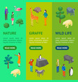 zoo concept banner vecrtical set 3d isometric view vector image vector image