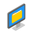 isometric computer screen with document folder vector image
