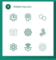 9 cog icons vector image vector image