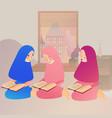 a muslim girl read quran islam vector image
