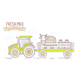 Agribusiness of farm tractor with green car vector image vector image